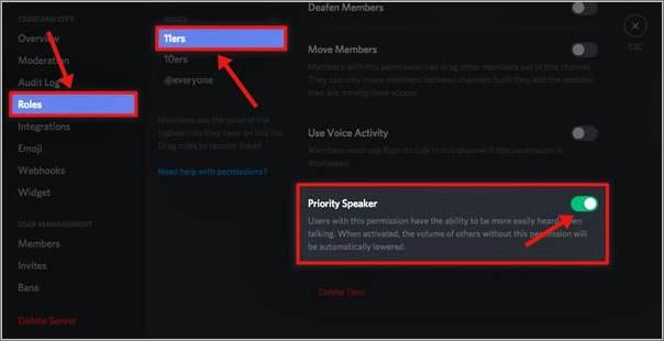 configurer la priorité dans le serveur