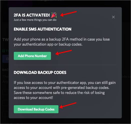 add phone number download backup code