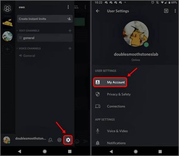 configuration de l'utilisateur dans Discord