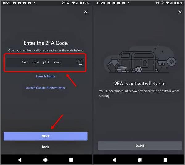 entrer le code d'authentification en 2 étapes Discord Android
