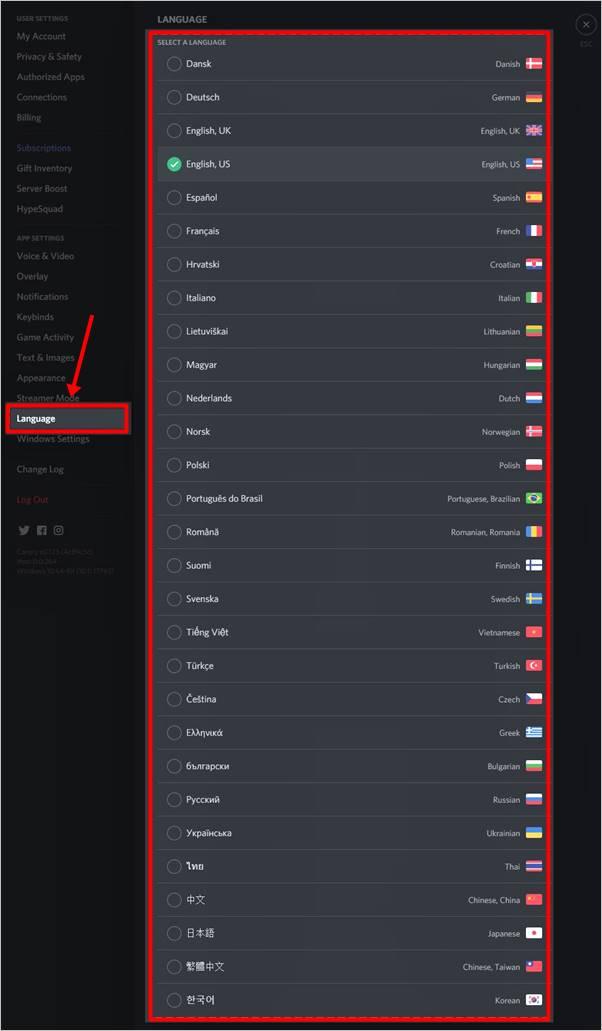 lista idiomas discord