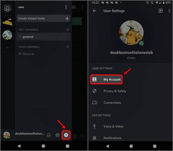 options de configuration discord