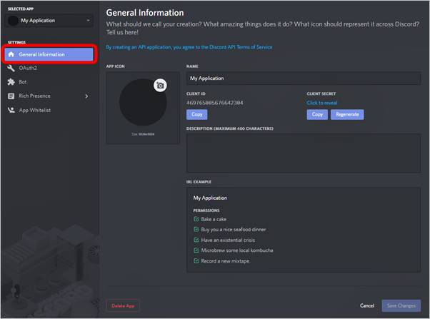 crear una aplicacion bot discord