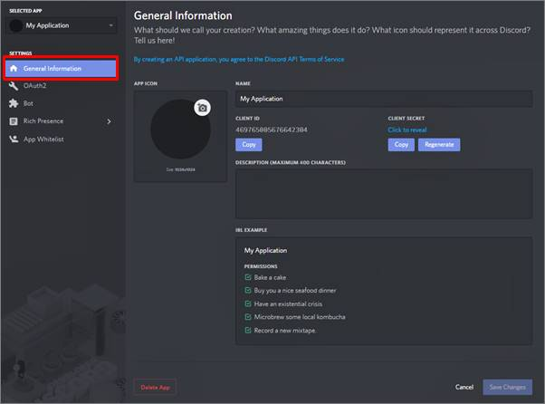 create a bot application on discord